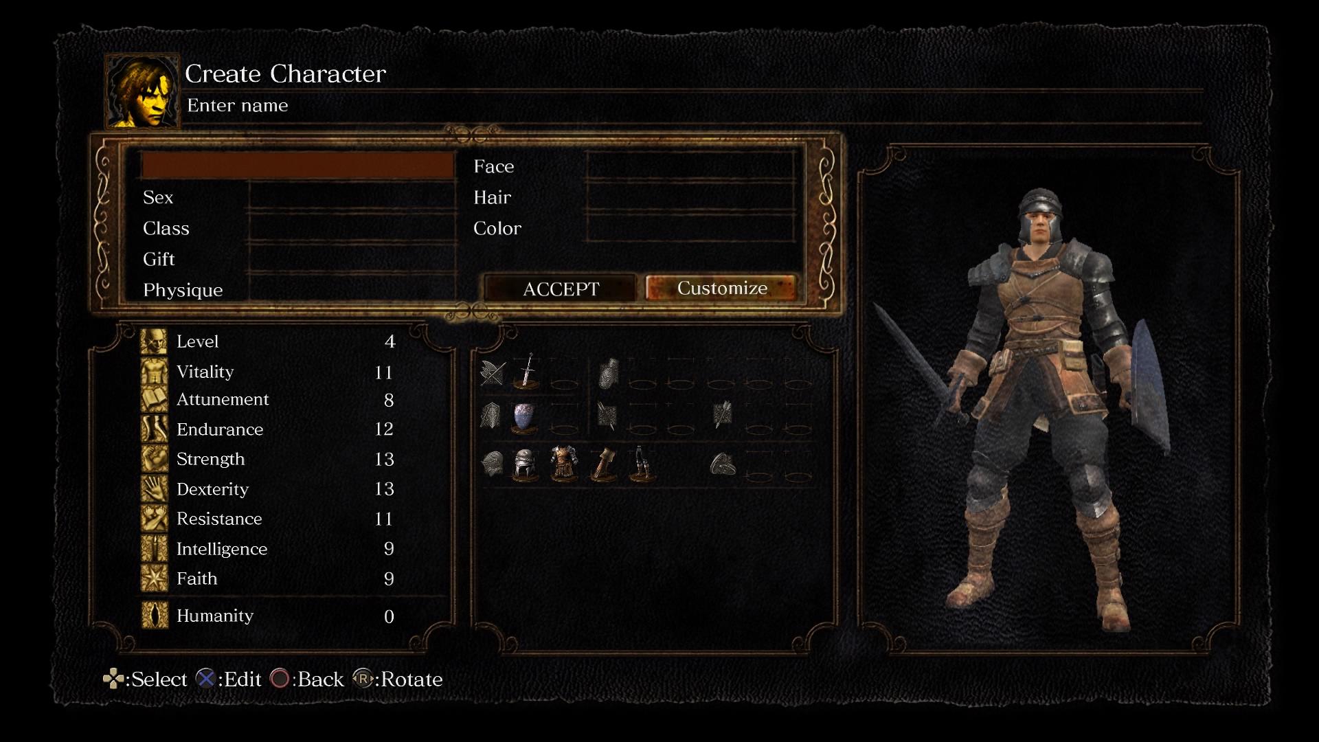 Dark Souls Remasterd chargen