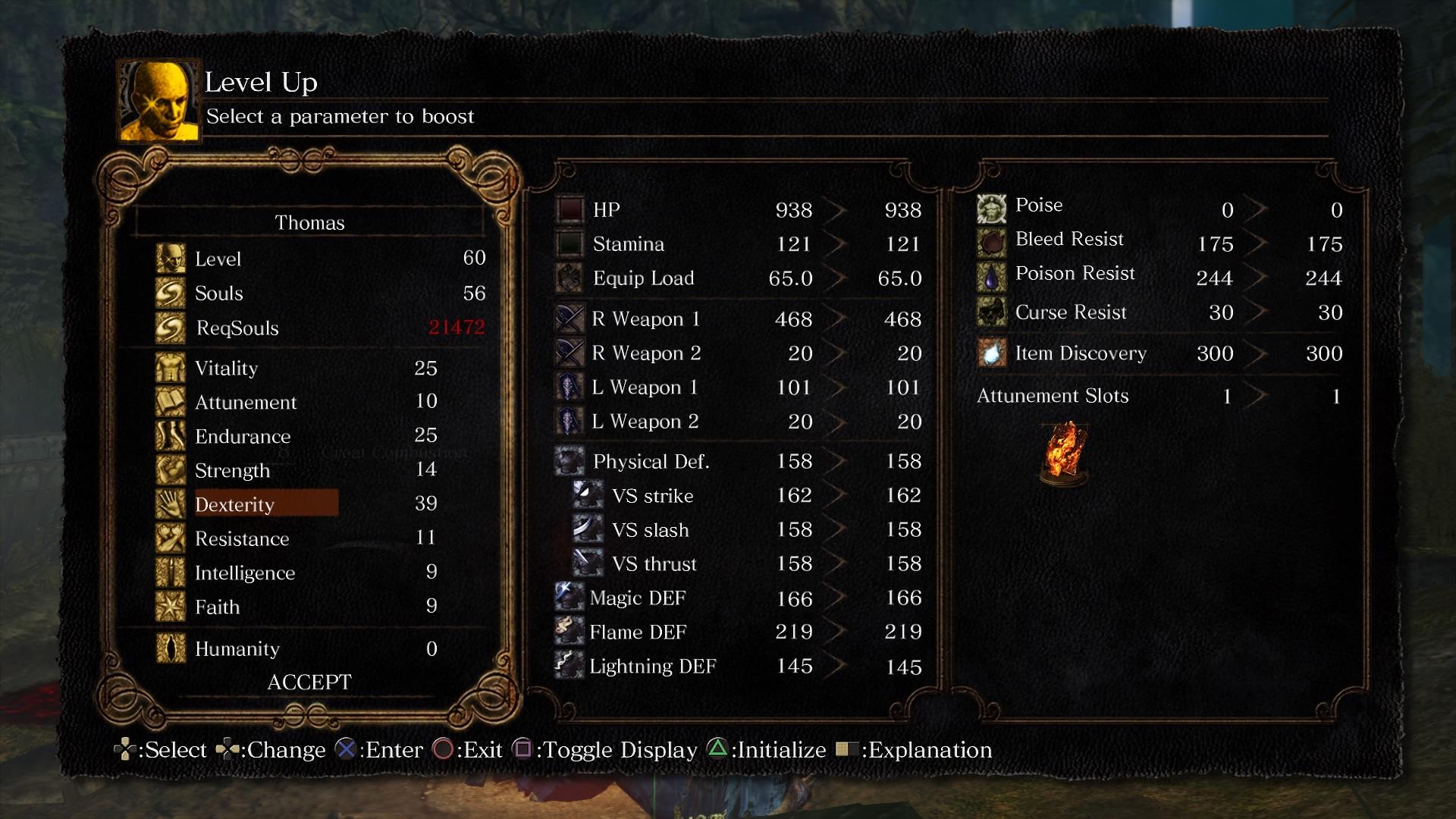 Dark Souls Remastered level up