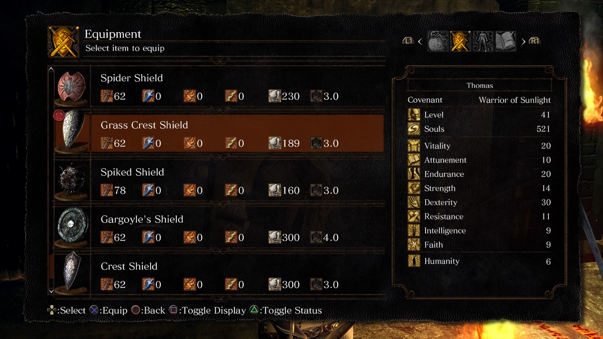 Dark Souls Remastered menu