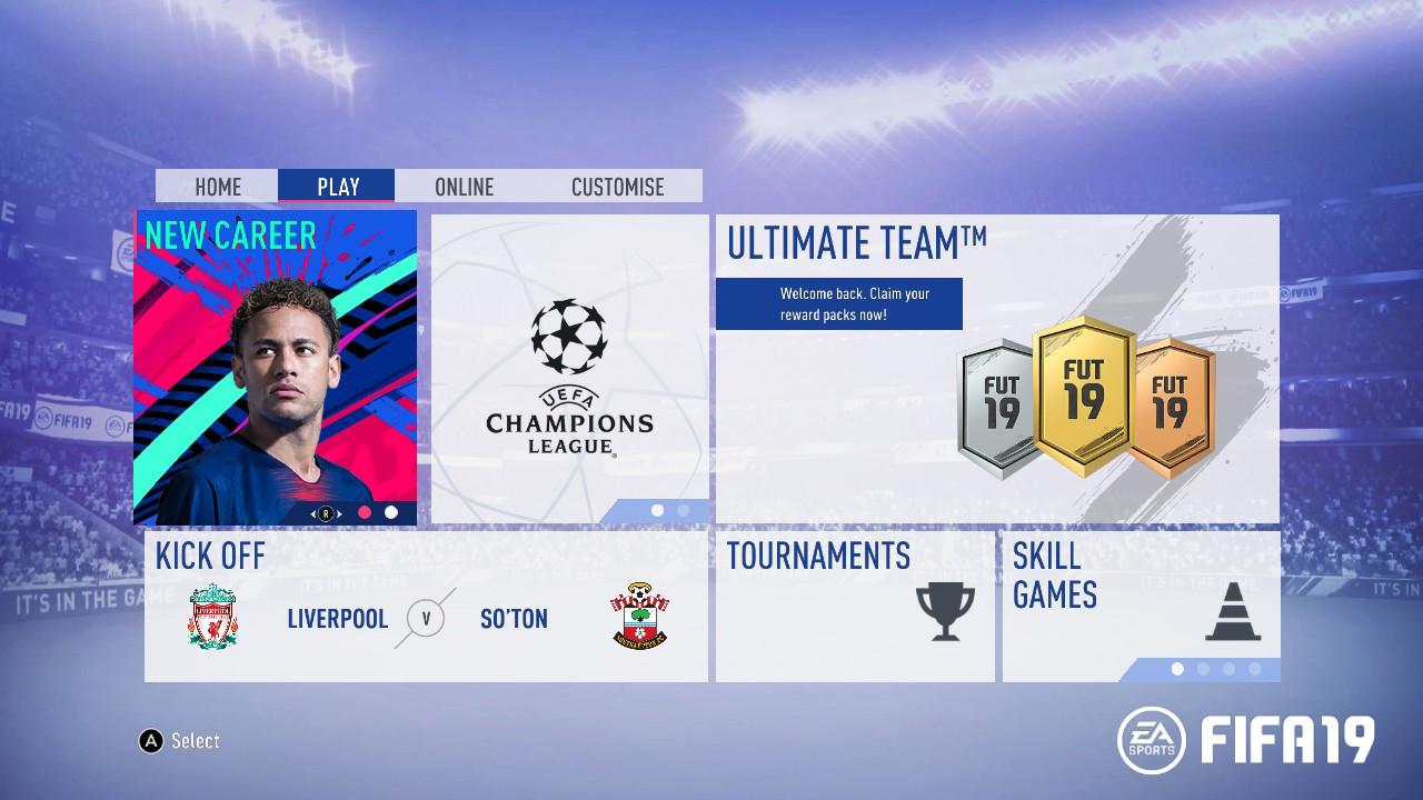 FIFA 19 starting screen
