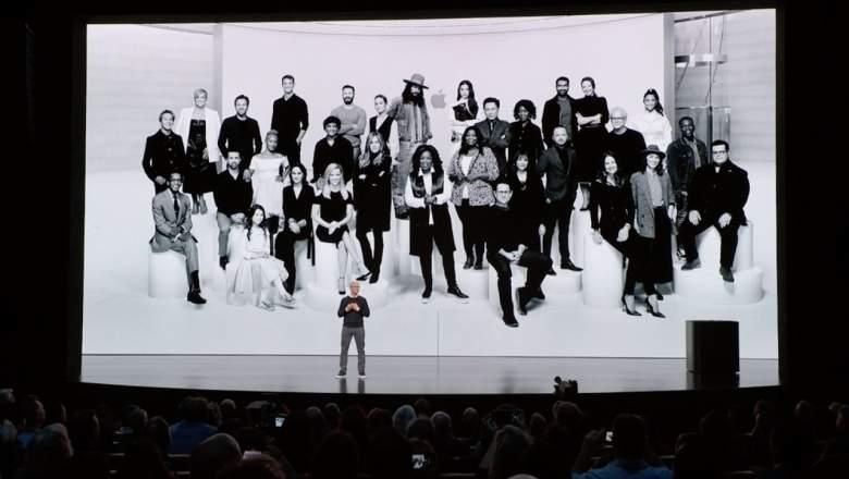 Er werd een grote groepsfoto getoond op het einde ©Apple