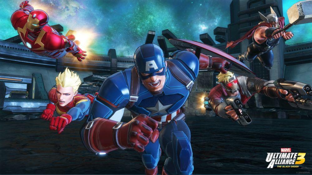 Captain America, Captain Marvel, Starlord, Thor en Iron Man vliegen op je af