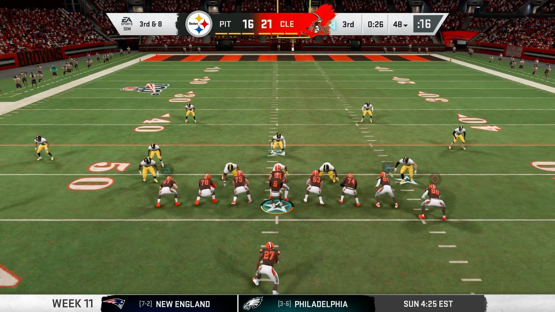 Madden 20 Steelers versus Browns