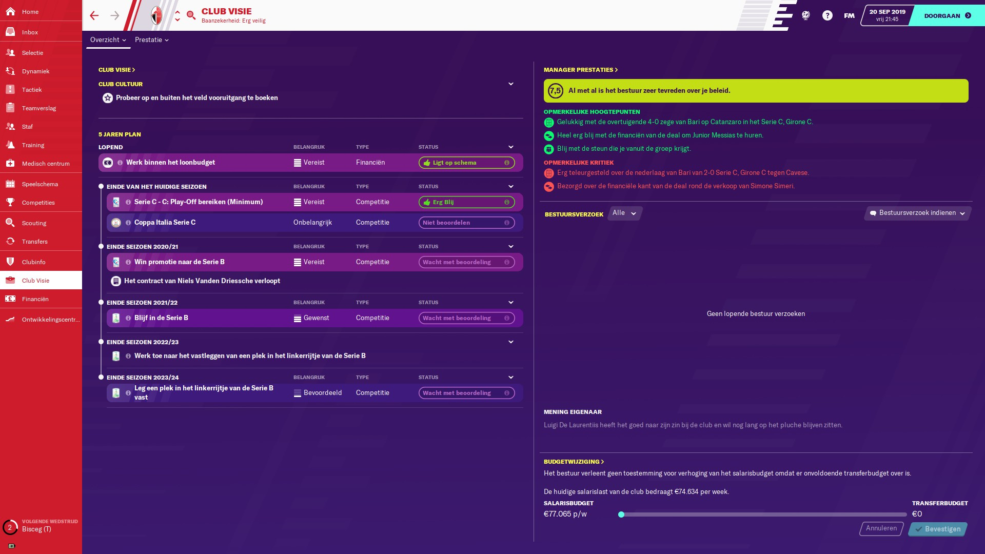 Football Manager 2020 clubvisie